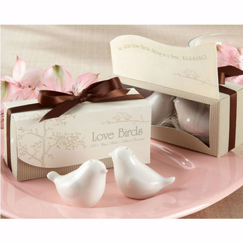 """""""Love Birds in the Window"""" Salt & Pepper Ceramic Shakers,Wedding Party Favor,Free Shipping"""