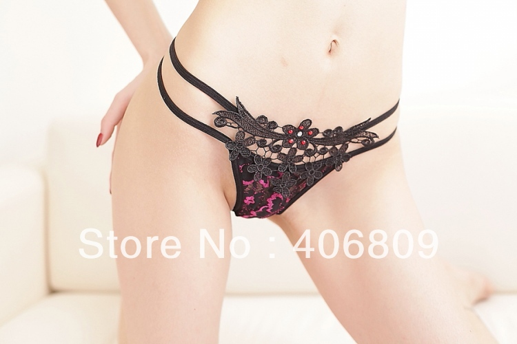 Sexy lingerie sexy temptation lace embroidery flower thong panties 9043(China (Mainland))