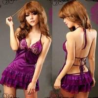 1set/lot New Lingerie Purple Sex Babydoll Women sexy Underwear Sleepwear+G-string free tracking
