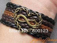 Infinity Love Bracelet-Antique Bronze love Bracelet, Multistrand Braid Chain Bracelet, Gift for Girlfriend - T259