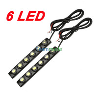2X Car DIY 6 LED DRL Driving Daytime Running LED Light Bar Soft Head Lamp White