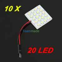 10X 12V DC 36LED 1210SMD led panel Car Interior Light  Reading Panel Lamp  LED Bulb T10+BA9S+Dome Three Adaptors Pure White
