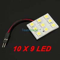 10 X 9LED 5050 led panel  12V  DC 5050SMD Reading Panel Car Interior Lamp Light LED Bulb T10+BA9S+Dome Three Adaptor Pure White
