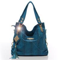 2013 serpentine pattern cowhide genuine leather tassel women's handbag single