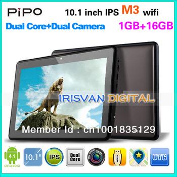 Freeshiping Pipo M3 wifi Tablet PC Dual Core CPU 1.6Ghz +WiFi built-in +10.1inch IPS 1280*800pix Bluetooth+Dual camera 4.1.1