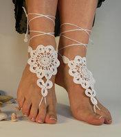 Beach Wedding Barefoot Sandals, foot jewelry, lace, wedding barefoot sandals,sexy,yoga,steampunk sandals, beach pool 5pair/lot