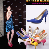 Free shipping 2013 Vivi fashion sexy japanned leather pointed toe high-heeled women's shoes Ladies colors pumps Pluz:34-42 L406