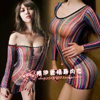 2014 new fashion  Sexy uniform women's no open-crotch lace sleep set transparent short skirt autumn