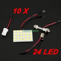 10X 12V DC 24LED 5050SMD led panel Car Interior Light  Reading Panel Lamp  LED Bulb T10+BA9S+Dome Three Adaptors Pure White