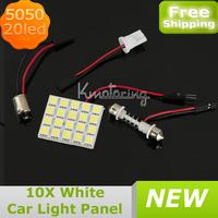 10X20SMD 5050led Panel Light LED Car Auto Interior Dome Plate Bulbs Lights White,Wholesale Car Interior Dome LED Panel FREE SHIP