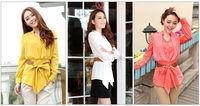 Fashion Casual Women's Bandage Halter Chiffon Buttons Long Sleeve Blouse Shirt Tops