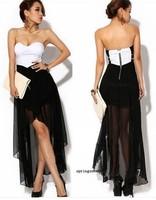 Women Asymmetric Cocktail Party Evening Dress Sexy Strapless Dress Summer Skirt club wear
