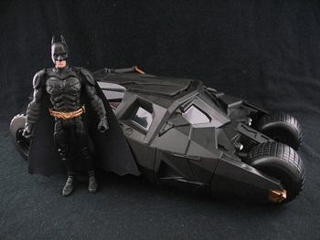 "Batman The Dark Knight BATMOBILE Tumbler Black Car w 4"" Figure"