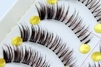 10 pairs per  box thick coffee color  false eyelash entiryly hand made false eyelash long E10 style 2013 new