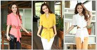 Fashion Casual Women's Bandage Halter Chiffon Buttons Short Sleeve Blouse Shirt Tops