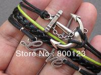 Anchor Bracelet-Antique Silver Anchor Bracelet, Silver Love Bracelet , Black Braid and Wax Cords Bracelet-L158