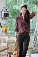 New women's fashion Long-sleeved stand-collar OL burgundy circle chiffon shirt free shipping