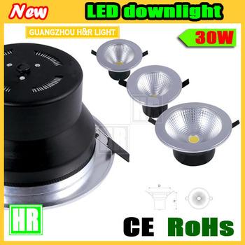 1pcs/lot  LED Downlight lamp 30w(1*30w COB) ,2850-3300lm,Diameter232*H95mm,AC85-265V,warm white/nature white/cool