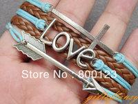 Multilayer Bracelet-Antique Silver Arrow Bracelet, Love Bracelet, Cross Bracelet , Brown Braid and Wax Cords Bracelet-L200