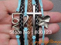 Multilayer Bracelet - Antique Silver Infinity Bracelet,Cross & Love Bracelet, Butterfly Orchid Flower Bracelet -W255