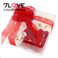 Rose box PVC hair ribbon 16 rose flower soap Valentine's Day gift transparent promotion