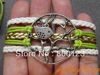 Multilayer Bracelet- Antique Silver Love Bird Bracelet, Lucky Tree, Bird on Branch Bracelet, Mutilayer Braid Bracelet-Y239