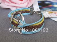 Anchor Bracelet-Antique Silver Anchor Bracelet, Silver Infinity Bracelet , Brown Braid and Wax Cords Bracelet-C013