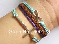 Karma Bracelet - God Blessing Bracelet, Antique Silver Infinitywish Bracelet ,Cross bracelet, Brown Braid Bracelet-W008