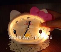 Hello Kitty Cat Head bow mute creative cartoon alarm clock with night light fashion good gifts for kids hot sale good quality