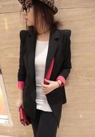 Formal ol slim small suit jacket female medium-long autumn and winter one button women's blazer black