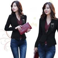 Elegant black all-match slim waist coat ol professional suit slim women's formal 2012 outerwear