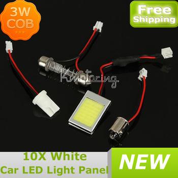 10XWhite 3W COB Chip LED Car Interior Light T10 Festoon Dome BA9S Adapter 12V,Wholesale Car Vehicle LED Panel FREE SHIP