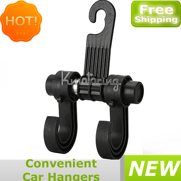 Free Shipping Convenient Car Hangers Double Vehicle Hangers Auto Car Seat Organizer Bag Hook Holder Caot Hanger Black(China (Mainland))