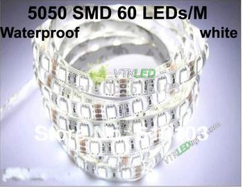 Super Bright SMD 5050 White LED Strip Waterproof Flexible DC12V 5M/roll 60led/m strip led light 72w, 5050 led strip