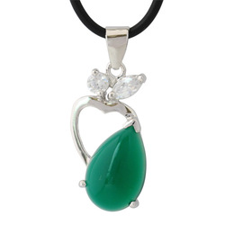 Sweets 925 pure silver green agate pendant female day gift(China (Mainland))