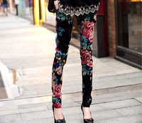 Fashion ladies dress 2012 print elastic skinny pants Women casual pencil pants boot cut jeans
