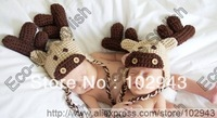 100% Cotton Free shipping 1pcs/lot little kids knitting deer hat big antle headgear