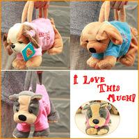3pcs/lot Soft Plush Pet Dog Shaped Handbag with Clothes Mini Cute Pencil Shouler Bag Free Shipping