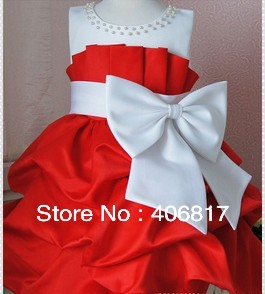 White Polka  Dress on Dress Girls High Grade Princess Pretty Dresses Chiffon Big Bowknot