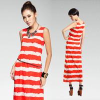 New! Spring stripe sleeveless all-match vest full dress one-piece dress