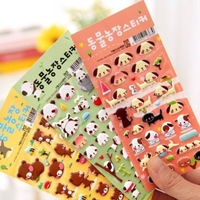 Korea stationery cartoon stereo small animal sponge stickers 6