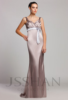 12B008 Straps Ruched Empire Slim-Line Elastic Woven Satin Unique Brilliant Prom Bridesmaid Dress Bridesmaid Prom Dress