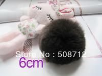 Free shipping!!!! 50pcs 6cm high-quality coffee genuine rex rabbit fur ball fit Cell Phone Pendant key Chain or hair pom pom