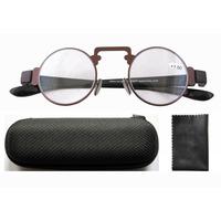 R11044 Retro Vintage Metal Frame Rim Plastic Arms Round Reading Glasses W/Case/1.50/2.00/2.50/