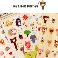 Korea stationery my little friends animal bubble stickers mobile phone stickers sponge stickers 10g