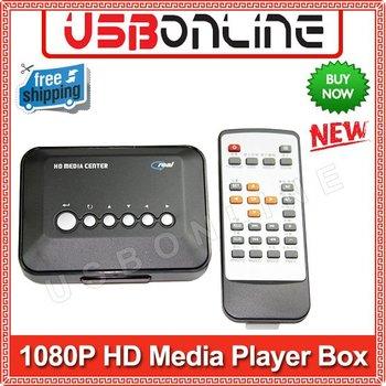 Free Shipping HDD USB SD/MMC Multi TV Box Media Player, HDD Media Player