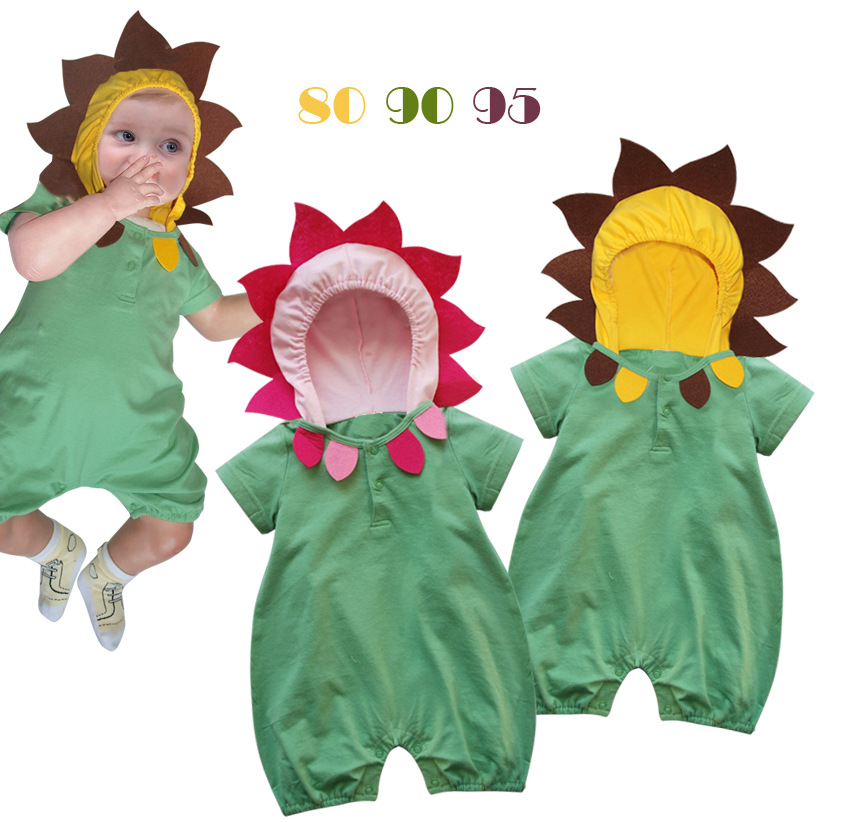 Free shipping 3pcs/lot sunflower baby clothing modelling short sleeve clothes short sleeve conjoined twin clothes 2 color(China (Mainland))