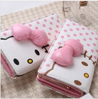 DISCOUNT pu big bow charm pink dot cute long wallet hello kitty id card holder rectangular for women  party evening accessory