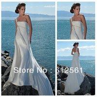 One Shoulder Cheap Price Chiffon Elastic Silk Long White Beach Dresses 2012