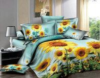 brand new yellow sunflower floral pattern blue bedlinens cotton full/queen bedding sets 4pcs comforter quilt/duvet cover sets
